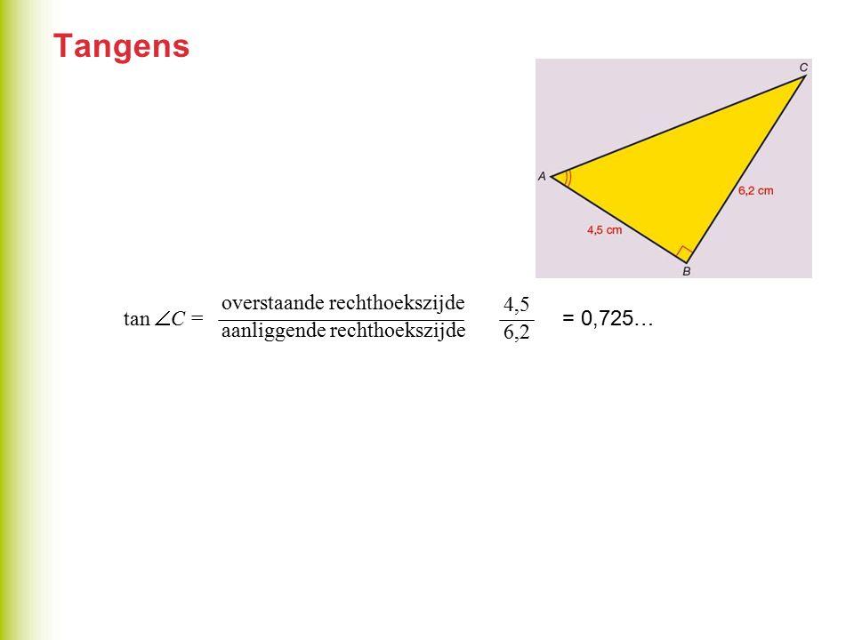 Tangens overstaande rechthoekszijde tan C = = 4,5