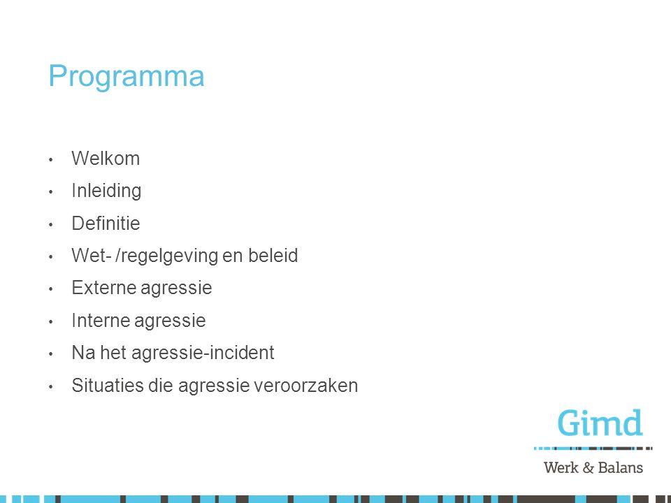 Programma Welkom Inleiding Definitie Wet- /regelgeving en beleid