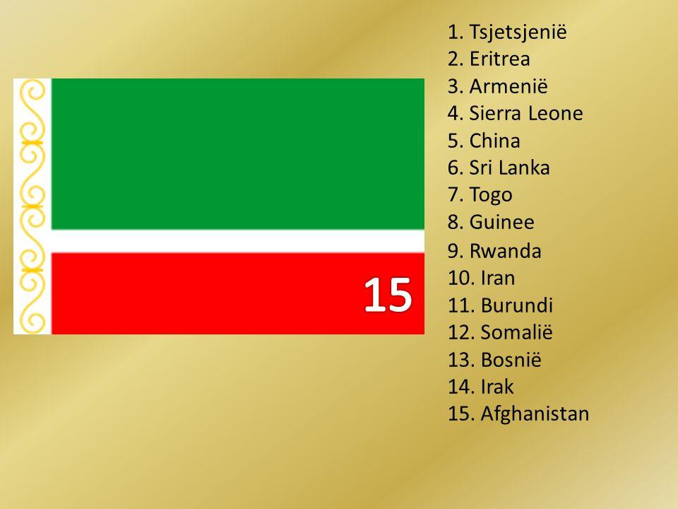 15 1. Tsjetsjenië 2. Eritrea 3. Armenië 4. Sierra Leone 5. China