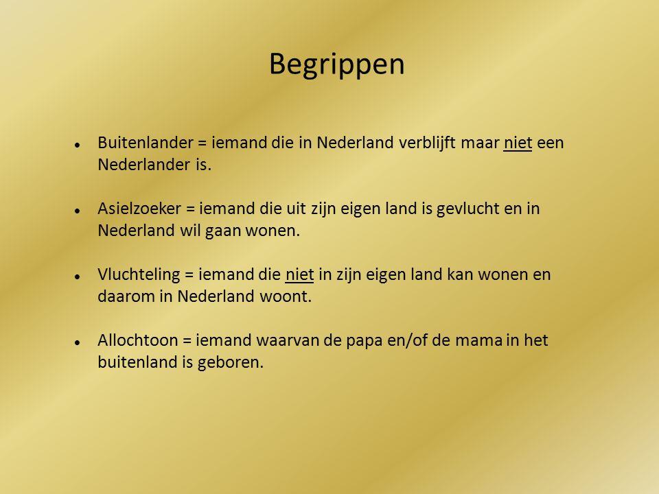 Begrippen Buitenlander = iemand die in Nederland verblijft maar niet een Nederlander is.