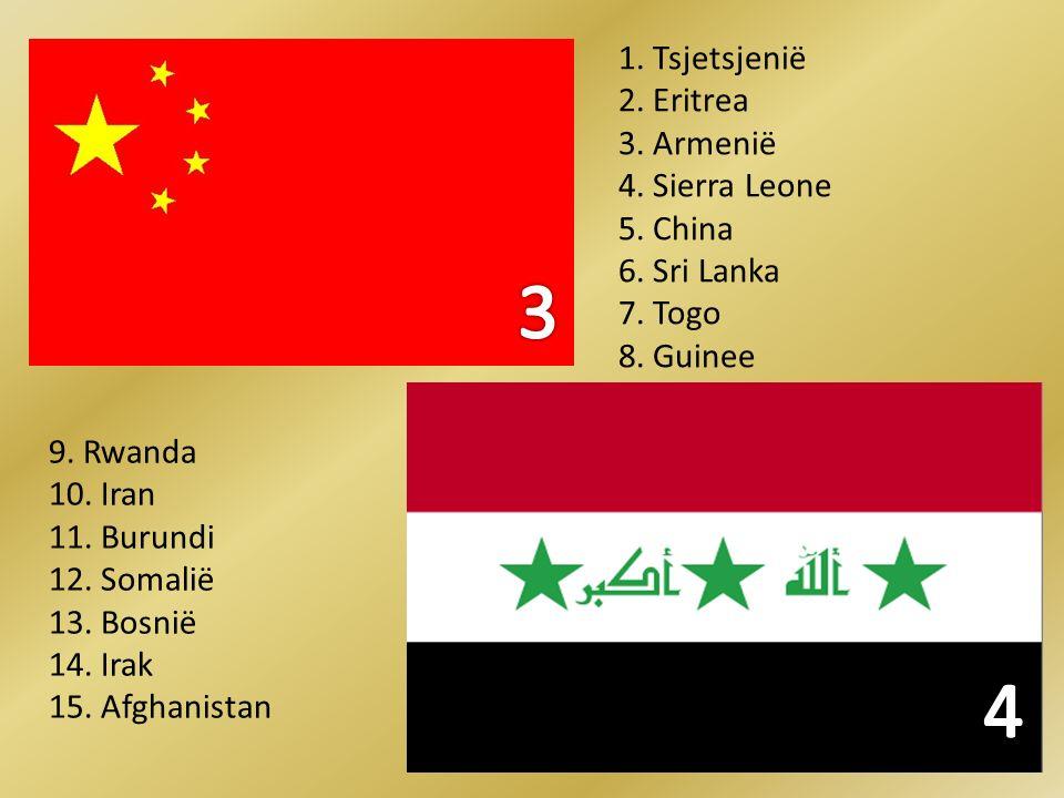 3 4 1. Tsjetsjenië 2. Eritrea 3. Armenië 4. Sierra Leone 5. China