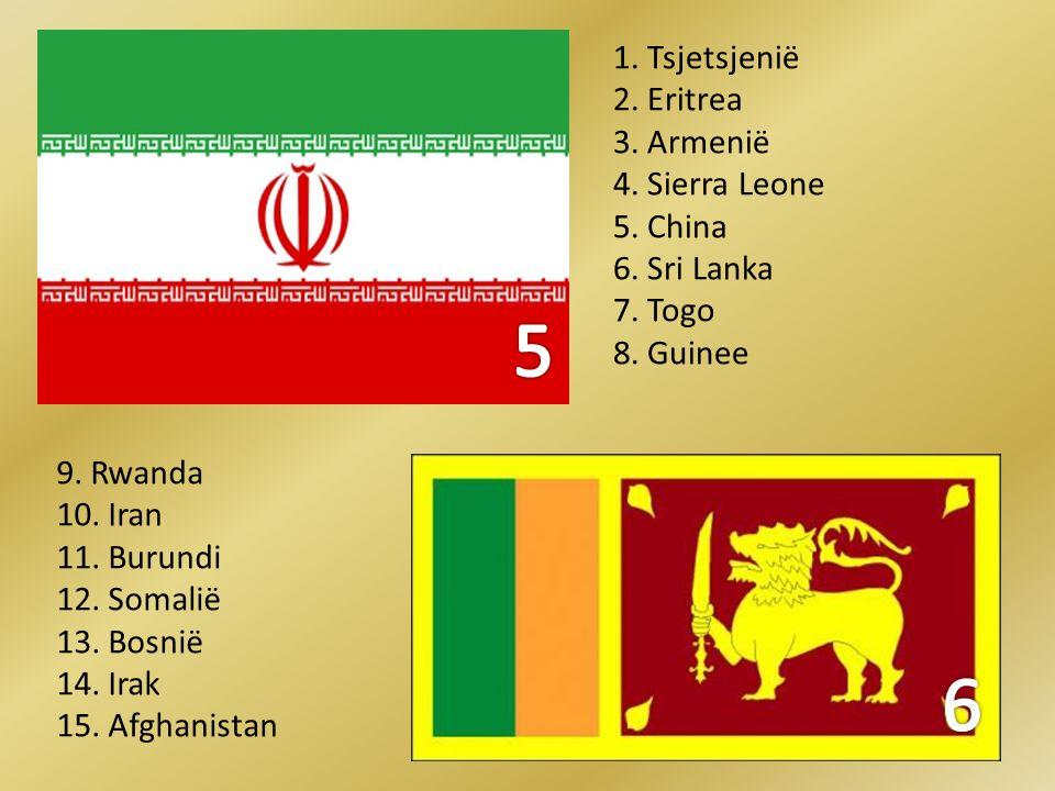 5 6 1. Tsjetsjenië 2. Eritrea 3. Armenië 4. Sierra Leone 5. China