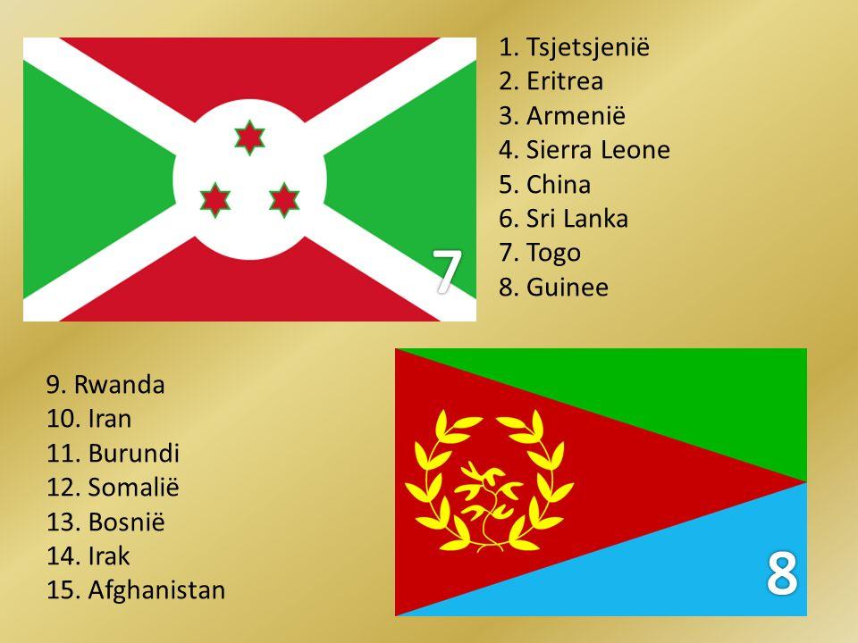 7 8 1. Tsjetsjenië 2. Eritrea 3. Armenië 4. Sierra Leone 5. China