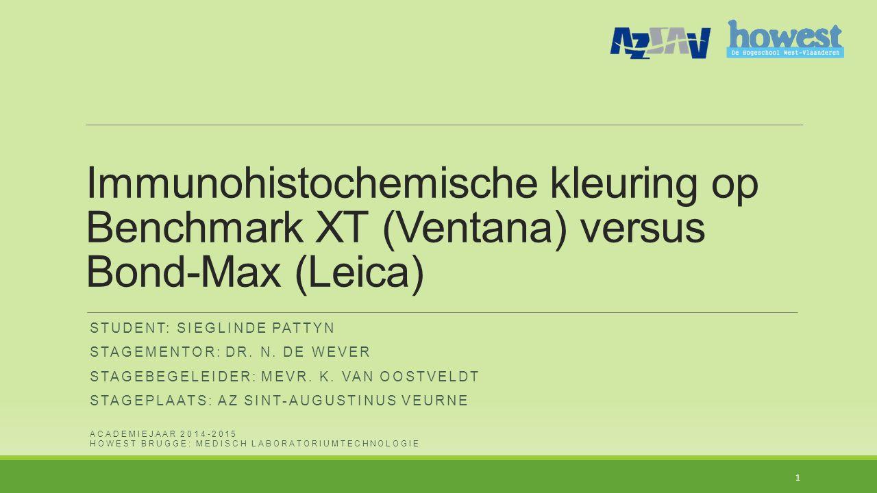 Immunohistochemische kleuring op Benchmark XT (Ventana) versus Bond-Max (Leica)