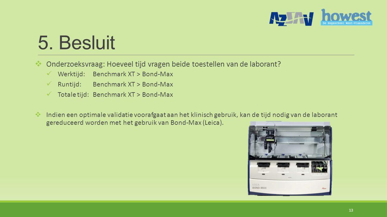 5. Besluit Onderzoeksvraag: Hoeveel tijd vragen beide toestellen van de laborant Werktijd: Benchmark XT > Bond-Max.