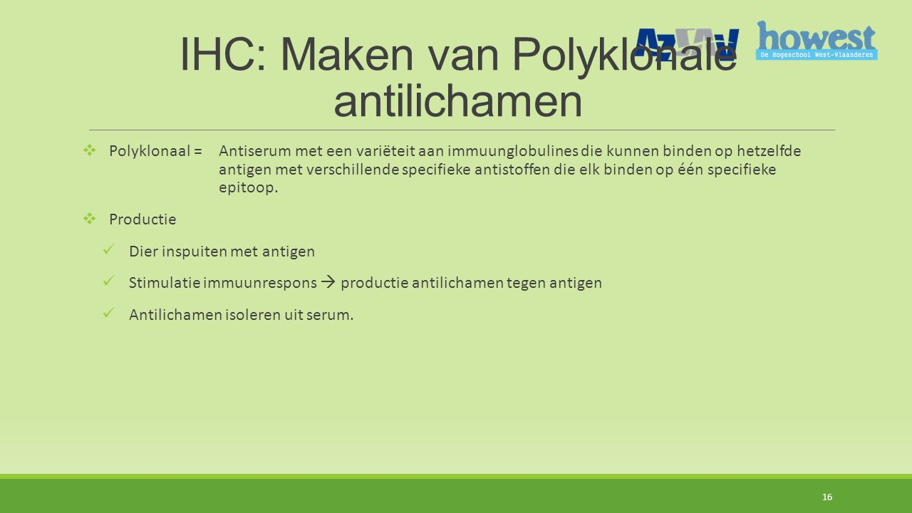 IHC: Maken van Polyklonale antilichamen