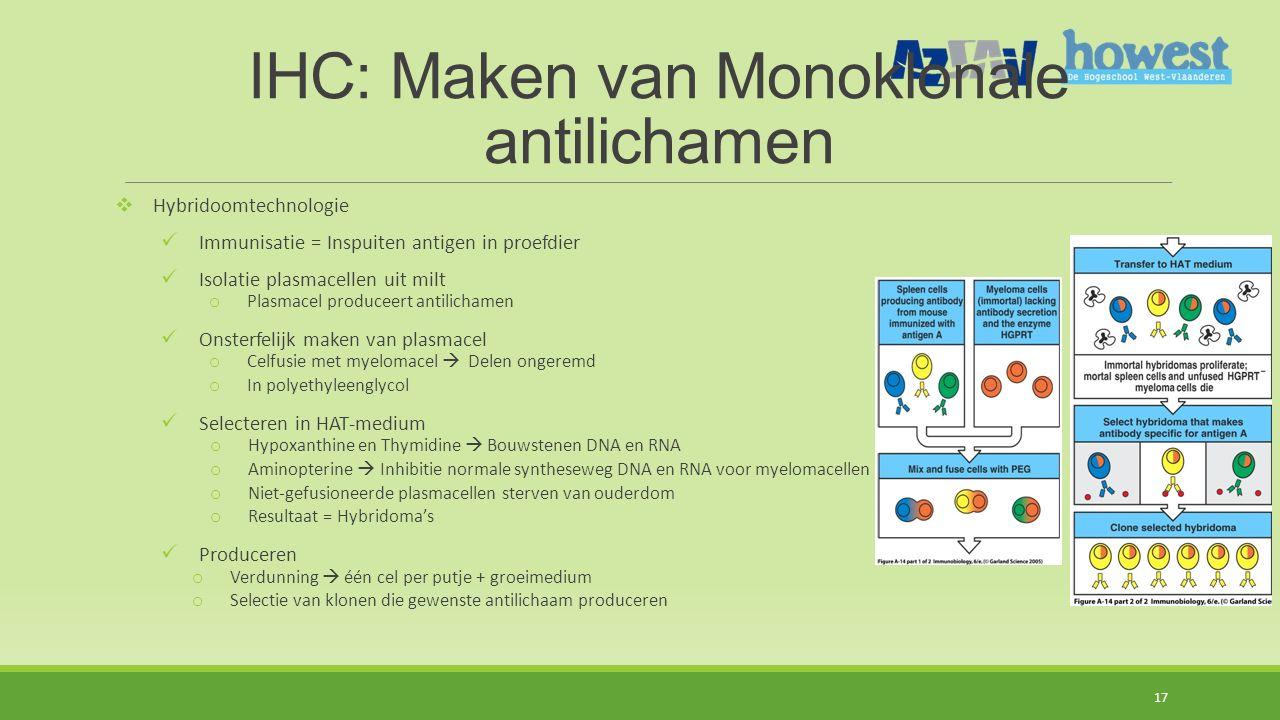 IHC: Maken van Monoklonale antilichamen