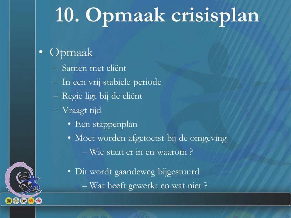 10. Opmaak crisisplan Opmaak Samen met cliënt