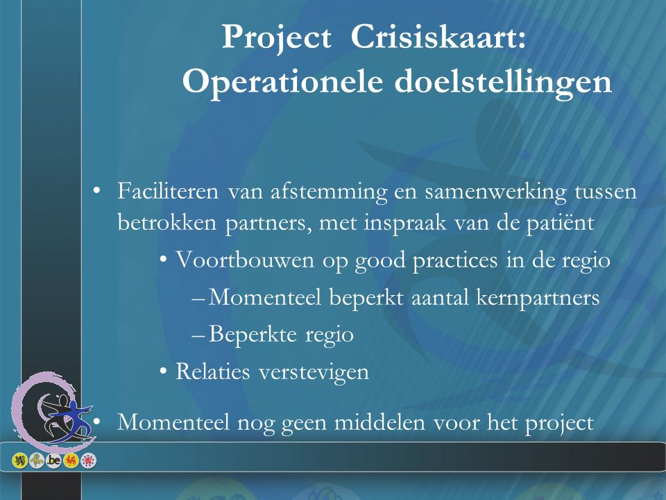 Project Crisiskaart: Operationele doelstellingen