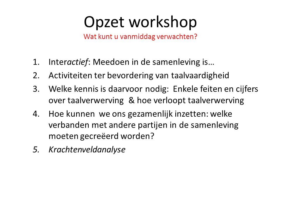Opzet workshop Wat kunt u vanmiddag verwachten