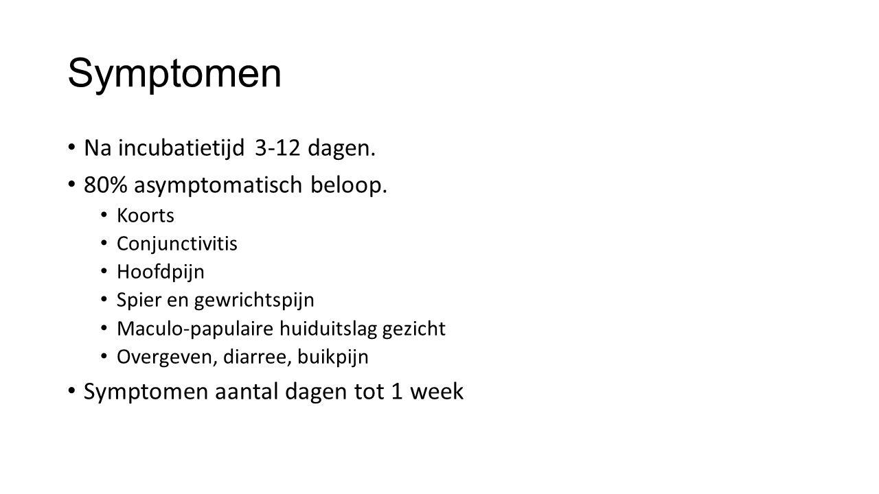 Symptomen Na incubatietijd 3-12 dagen. 80% asymptomatisch beloop.