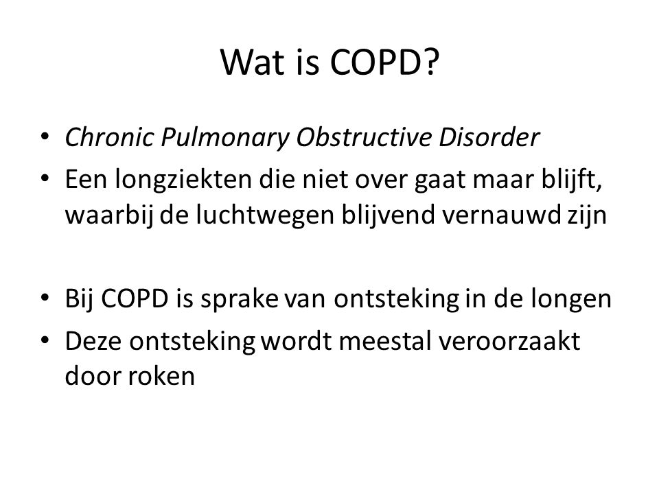 Wat is COPD Chronic Pulmonary Obstructive Disorder