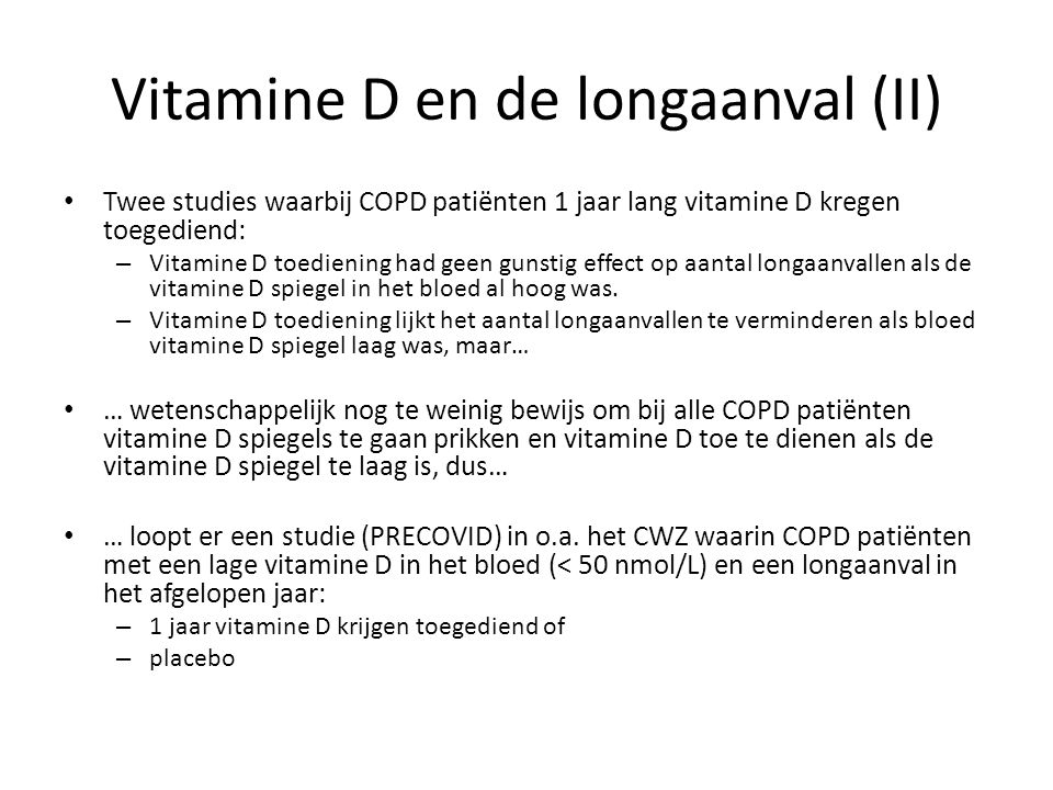Vitamine D en de longaanval (II)
