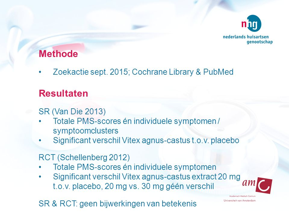 Methode Resultaten Zoekactie sept. 2015; Cochrane Library & PubMed