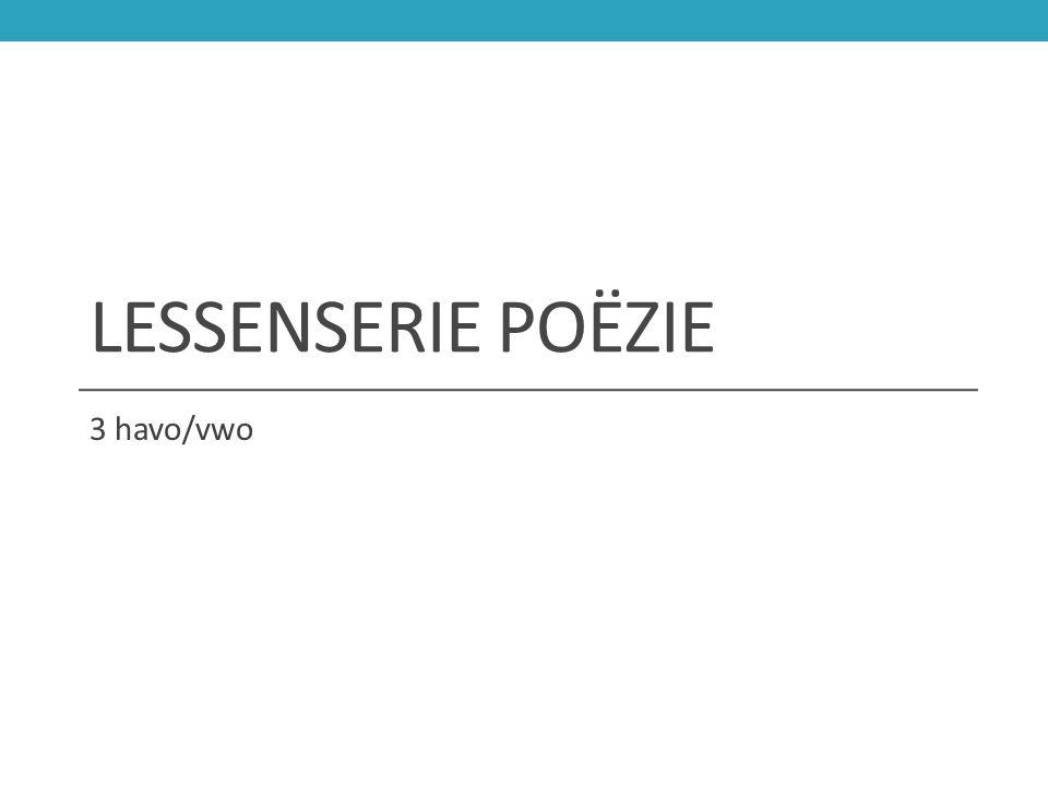 Lessenserie poëzie 3 havo/vwo