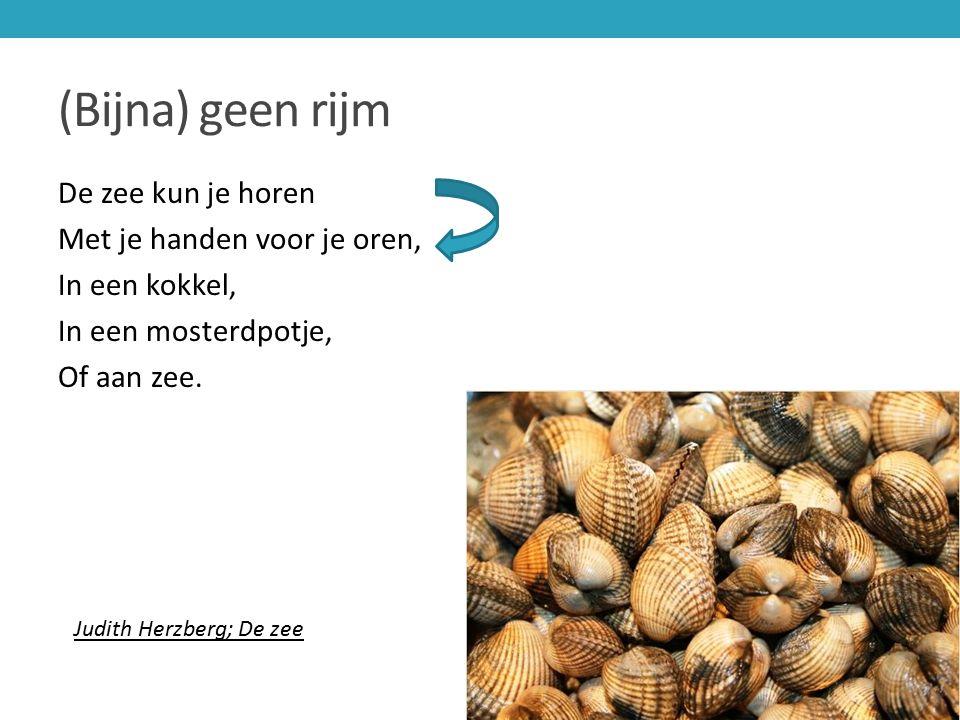 (Bijna) geen rijm De zee kun je horen Met je handen voor je oren, In een kokkel, In een mosterdpotje, Of aan zee.
