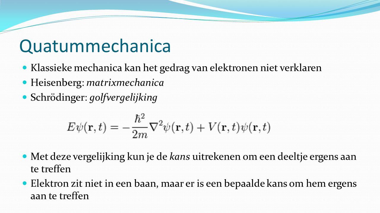 Quatummechanica Klassieke mechanica kan het gedrag van elektronen niet verklaren. Heisenberg: matrixmechanica.