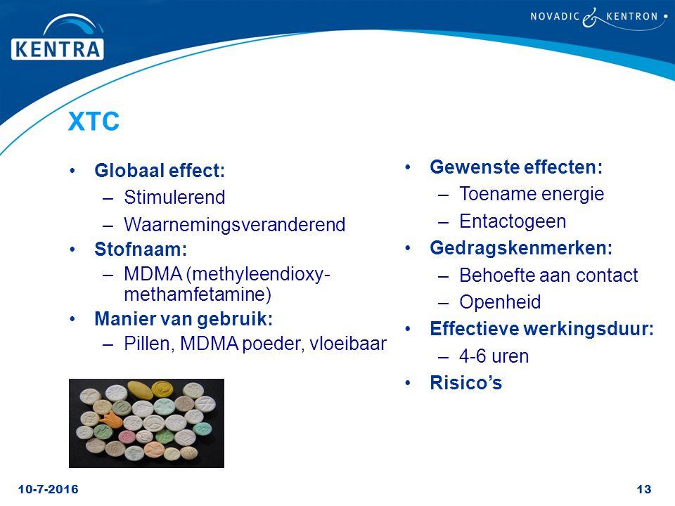 XTC Gewenste effecten: Globaal effect: Toename energie Stimulerend