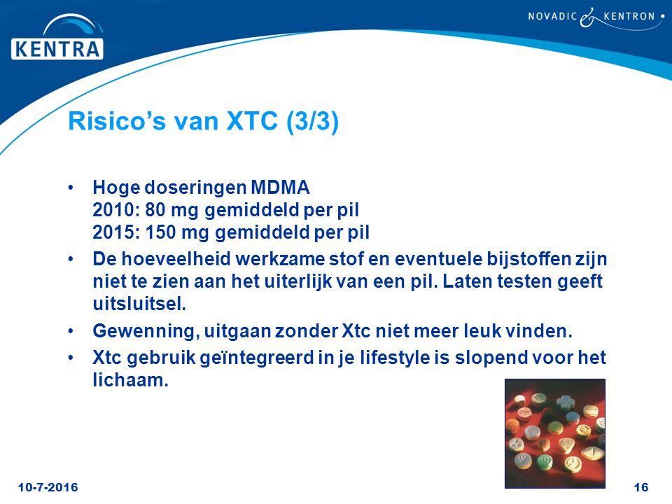 Risico's van XTC (3/3) Hoge doseringen MDMA 2010: 80 mg gemiddeld per pil 2015: 150 mg gemiddeld per pil.