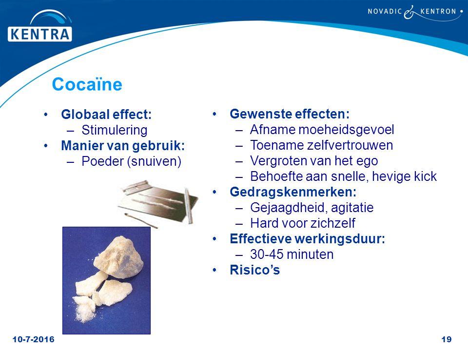 Cocaïne Gewenste effecten: Globaal effect: Afname moeheidsgevoel