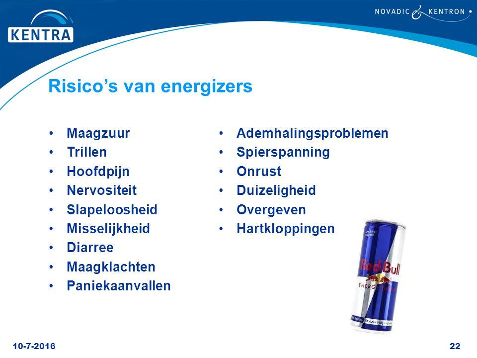 Risico's van energizers