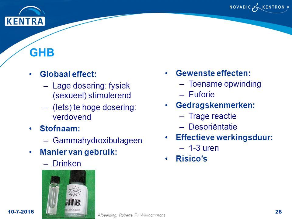 GHB Globaal effect: Lage dosering: fysiek (sexueel) stimulerend