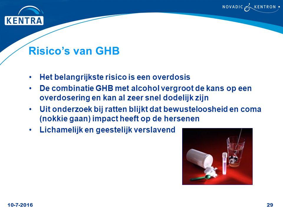 Risico's van GHB Het belangrijkste risico is een overdosis