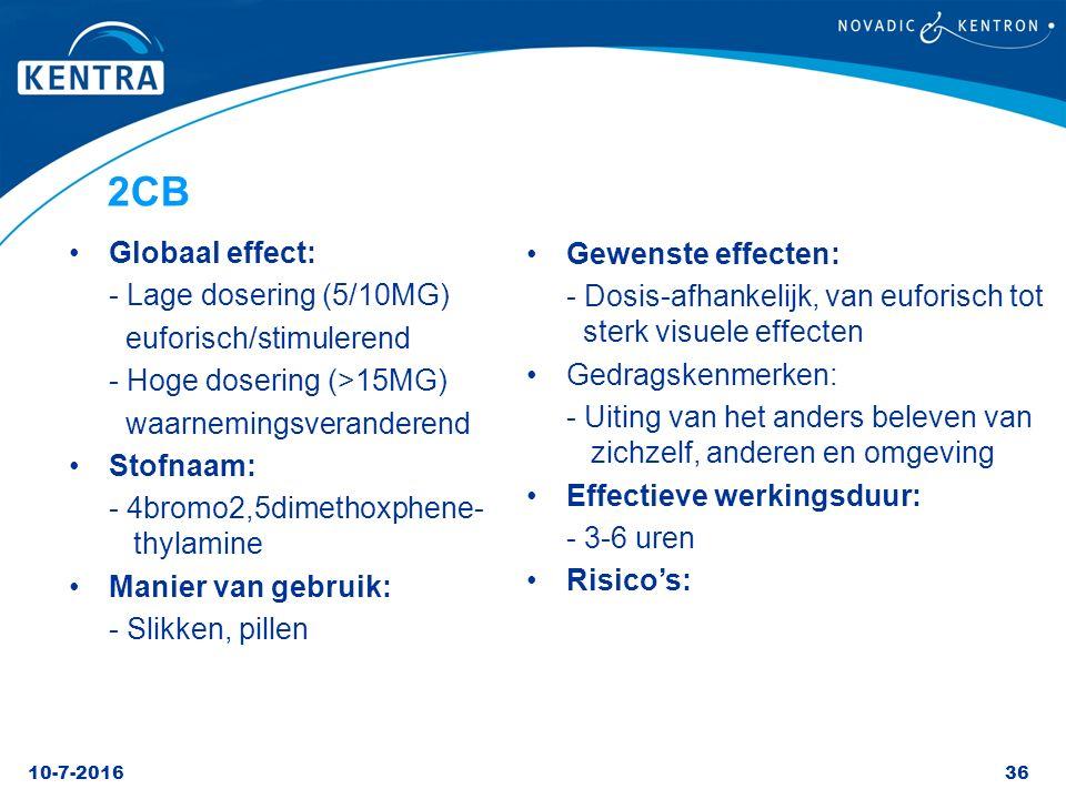 2CB Globaal effect: Gewenste effecten: - Lage dosering (5/10MG)