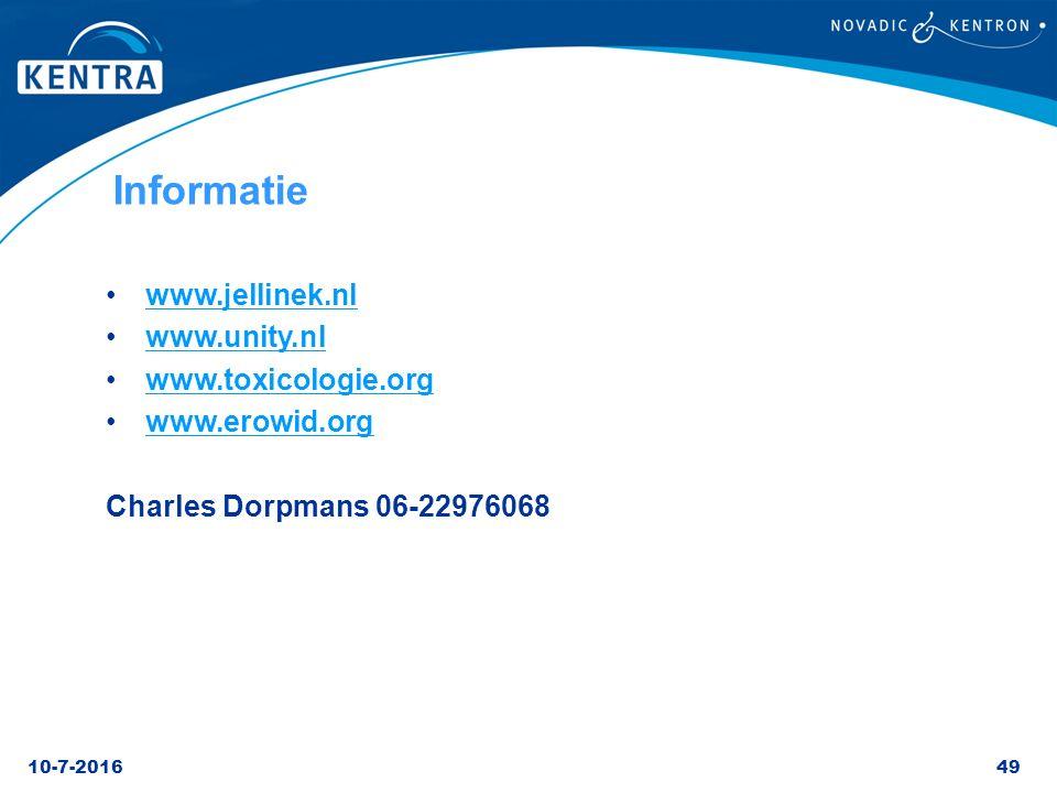 Informatie www.jellinek.nl www.unity.nl www.toxicologie.org