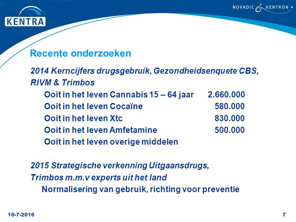 Recente onderzoeken 2014 Kerncijfers drugsgebruik, Gezondheidsenquete CBS, RIVM & Trimbos. Ooit in het leven Cannabis 15 – 64 jaar 2.660.000.