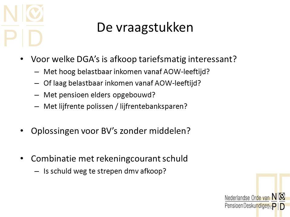 De vraagstukken Voor welke DGA's is afkoop tariefsmatig interessant