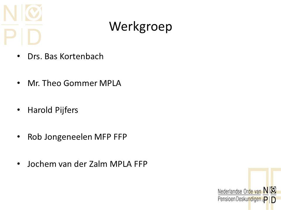 Werkgroep Drs. Bas Kortenbach Mr. Theo Gommer MPLA Harold Pijfers