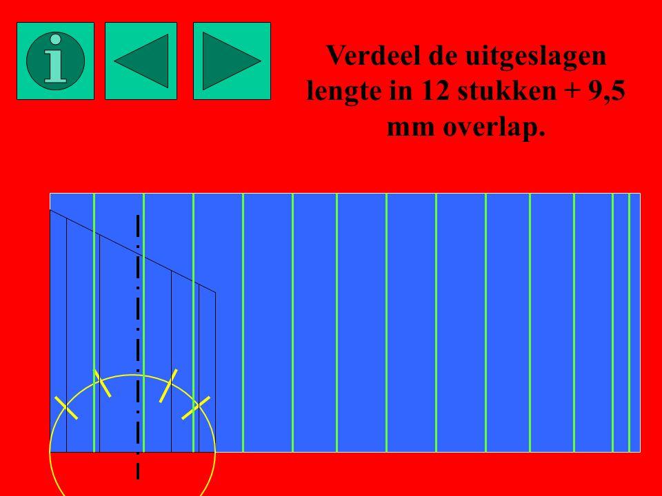 Verdeel de uitgeslagen lengte in 12 stukken + 9,5 mm overlap.