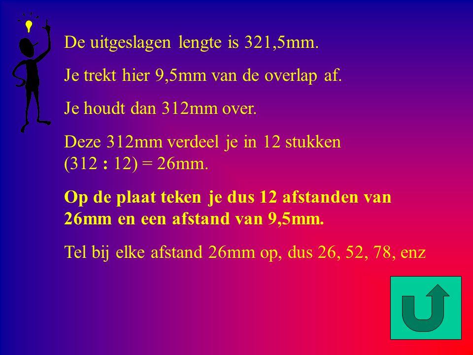De uitgeslagen lengte is 321,5mm.