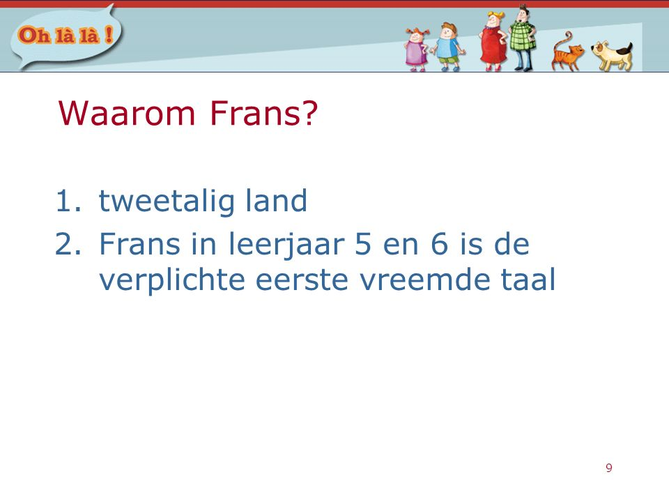 Waarom Frans tweetalig land