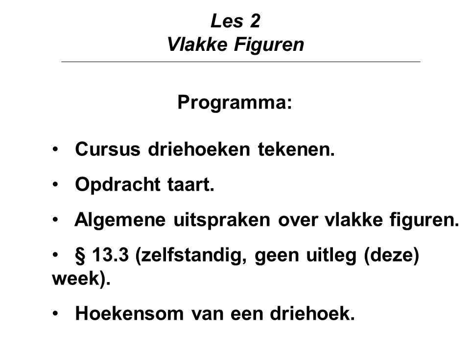 Les 2 Vlakke Figuren. Programma: Cursus driehoeken tekenen. Opdracht taart. Algemene uitspraken over vlakke figuren.