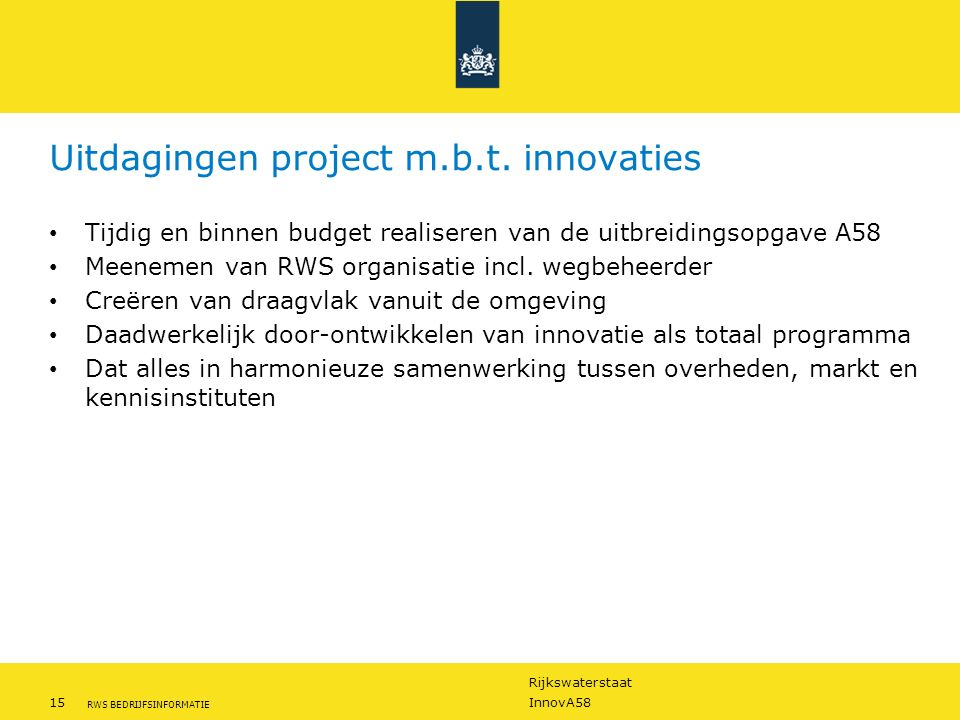 Uitdagingen project m.b.t. innovaties