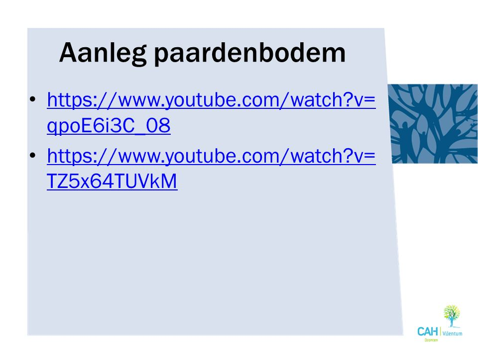Aanleg paardenbodem https://www.youtube.com/watch v=qpoE6i3C_08