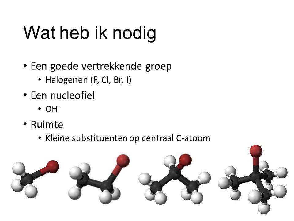 Wat heb ik nodig Een goede vertrekkende groep Een nucleofiel Ruimte
