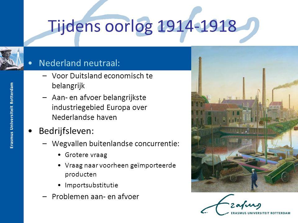 Tijdens oorlog 1914-1918 Nederland neutraal: Bedrijfsleven: