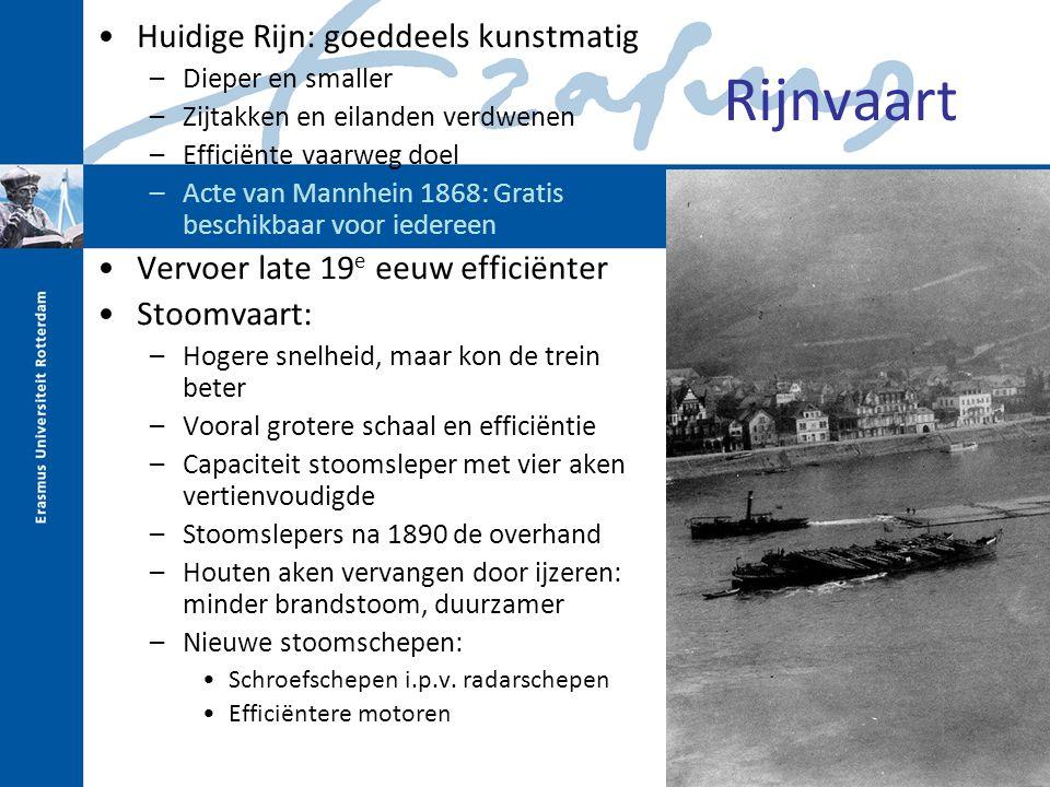 Rijnvaart Huidige Rijn: goeddeels kunstmatig