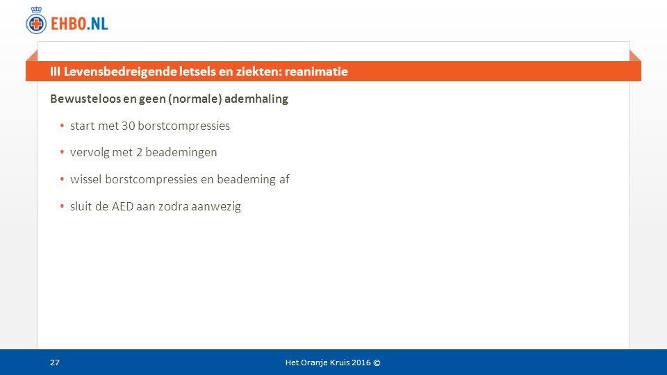 III Levensbedreigende letsels en ziekten: reanimatie