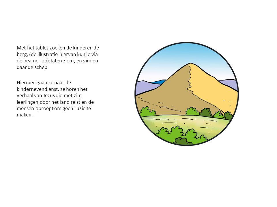 Met het tablet zoeken de kinderen de berg, (de illustratie hiervan kun je via de beamer ook laten zien), en vinden daar de schep