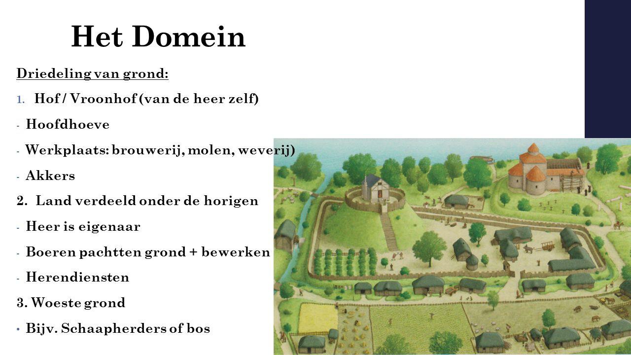 Het Domein Driedeling van grond: Hof / Vroonhof (van de heer zelf)