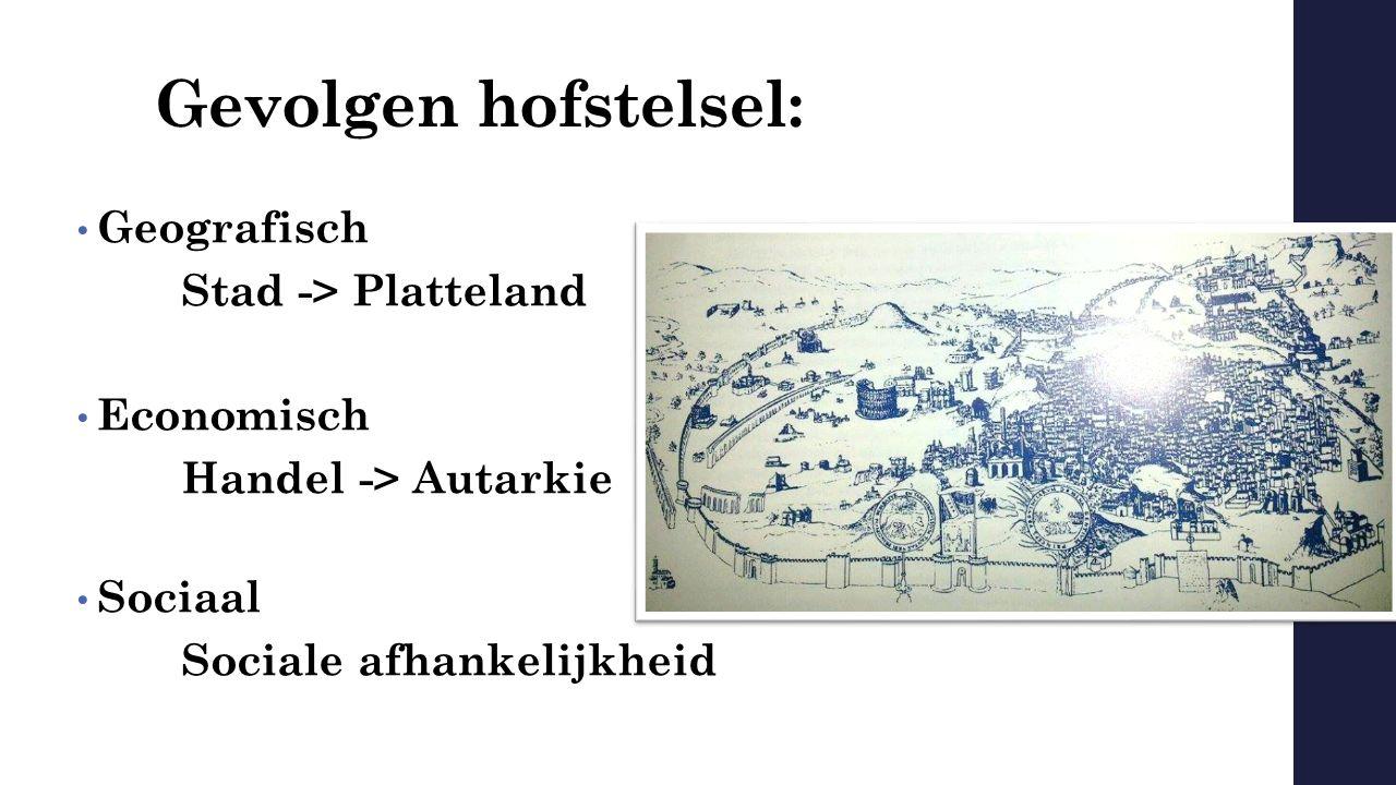 Gevolgen hofstelsel: Geografisch Stad -> Platteland Economisch