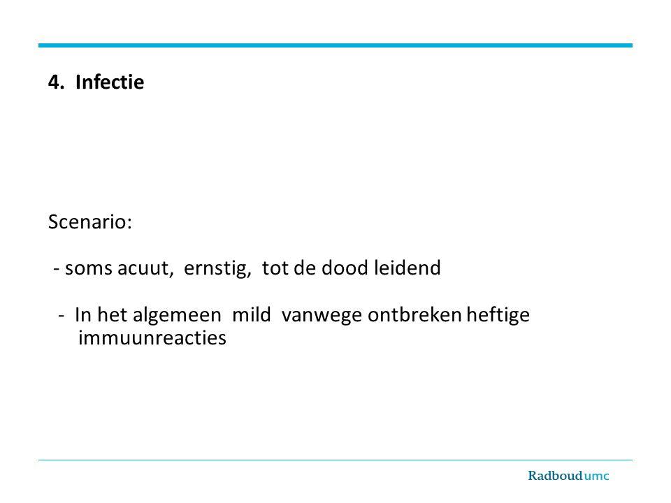 4. Infectie Scenario: - soms acuut, ernstig, tot de dood leidend. - In het algemeen mild vanwege ontbreken heftige.