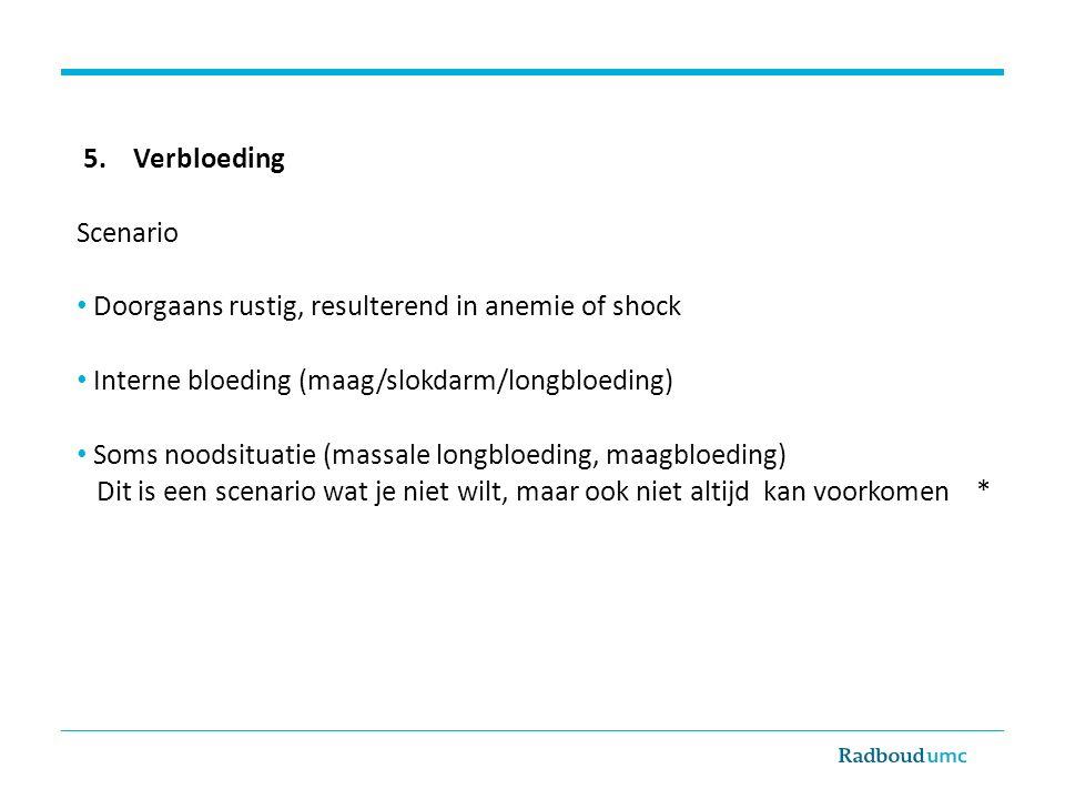 5. Verbloeding Scenario. Doorgaans rustig, resulterend in anemie of shock. Interne bloeding (maag/slokdarm/longbloeding)