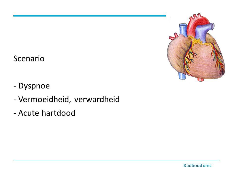 Scenario - Dyspnoe - Vermoeidheid, verwardheid - Acute hartdood