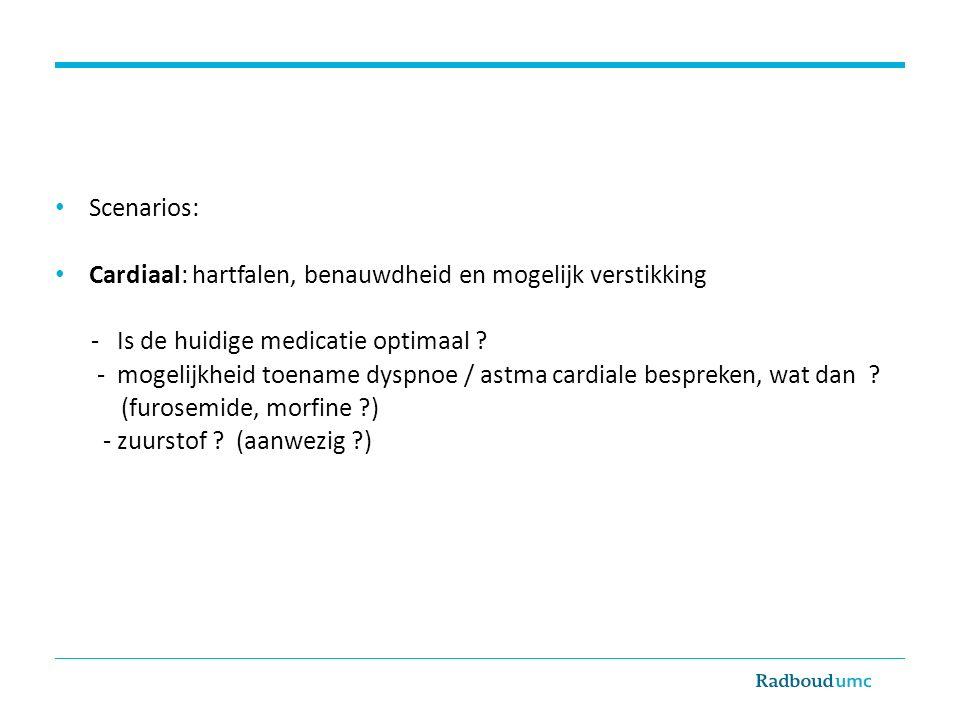 Scenarios: Cardiaal: hartfalen, benauwdheid en mogelijk verstikking. - Is de huidige medicatie optimaal