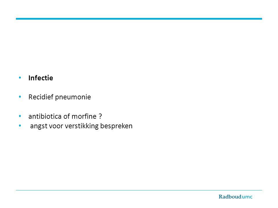 Infectie Recidief pneumonie antibiotica of morfine angst voor verstikking bespreken